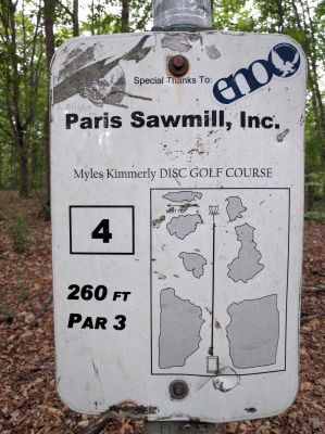 Myles Kimmerly, Main course, Hole 4 Hole sign