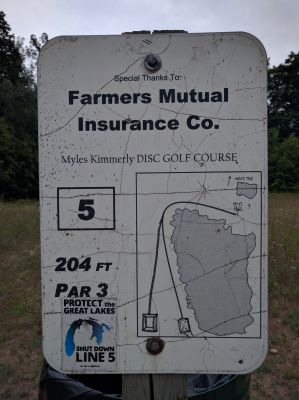 Myles Kimmerly, Main course, Hole 5 Hole sign