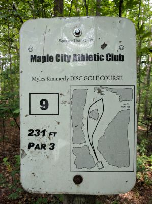 Myles Kimmerly, Main course, Hole 9 Hole sign