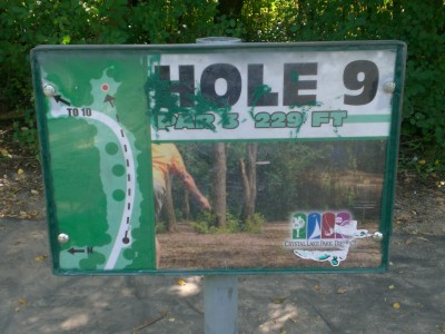 Lippold Park, Main course, Hole 9 Hole sign