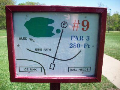 Adler Park, Main course, Hole 9 Hole sign