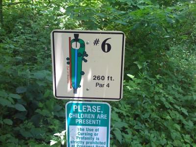 Prospect Park, Main course, Hole 6 Hole sign