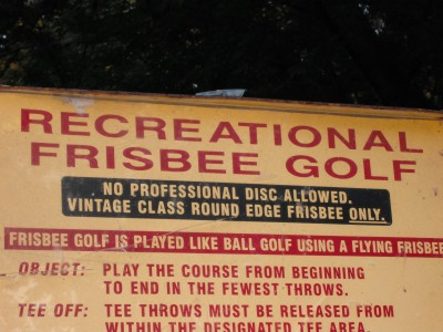 Nims Park, Main course, Hole 1 Hole sign