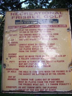 Nims Park, Main course, Hole 1 Hole sign