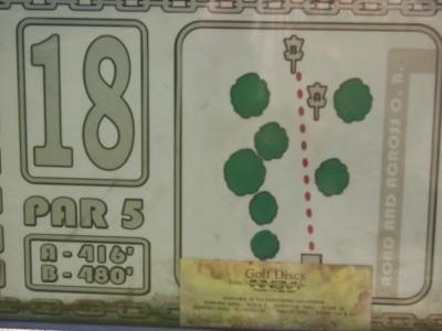 Sinnissippi Park, Main course, Hole 18 Hole sign