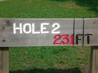 Shady Oaks Park, Main course, Hole 2 Hole sign