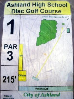 Ashland High School, Main course, Hole 1 Hole sign
