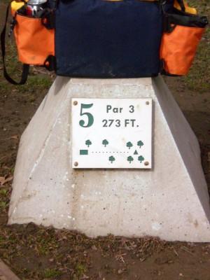 Carter Park, Main course, Hole 5 Hole sign