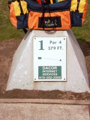 Carter Park, Main course, Hole 1 Hole sign