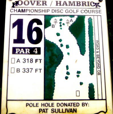 Brent Hambrick Memorial, Main course, Hole 16 Hole sign