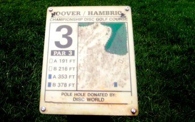 Brent Hambrick Memorial, Main course, Hole 3 Hole sign