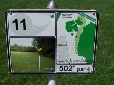 Deis Hill Park, Main course, Hole 11 Hole sign