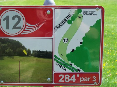 Deis Hill Park, Main course, Hole 12 Hole sign