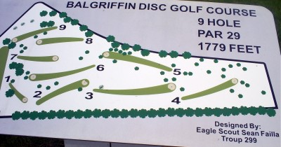 Balgriffen Park, Main course, Hole 1 Hole sign
