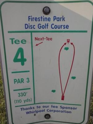 Firestine Park, Main course, Hole 4 Hole sign