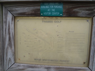 Miami Whitewater Forest, Main course, Hole 1 Hole sign