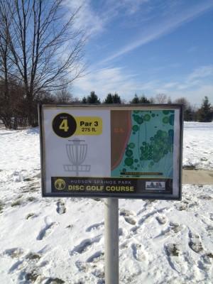 Hudson Springs Park, Main course, Hole 4 Hole sign