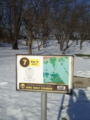 Hudson Springs Park, Main course, Hole 7 Hole sign