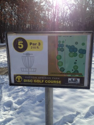 Hudson Springs Park, Main course, Hole 5 Hole sign