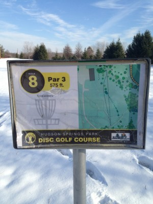 Hudson Springs Park, Main course, Hole 8 Hole sign