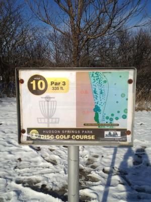 Hudson Springs Park, Main course, Hole 10 Hole sign