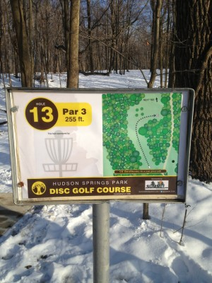 Hudson Springs Park, Main course, Hole 13 Hole sign