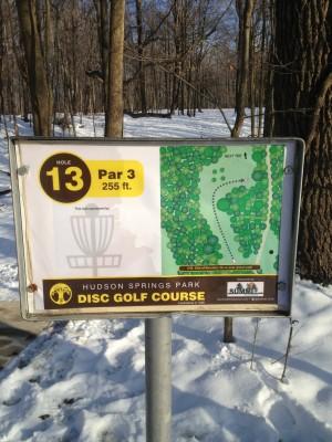 Hudson Springs Park, Main course, Hole 13 Hole sign