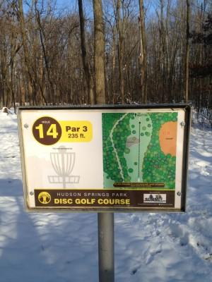 Hudson Springs Park, Main course, Hole 14 Hole sign