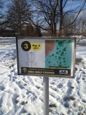 Hudson Springs Park, Main course, Hole 3 Hole sign