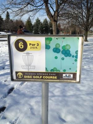 Hudson Springs Park, Main course, Hole 6 Hole sign