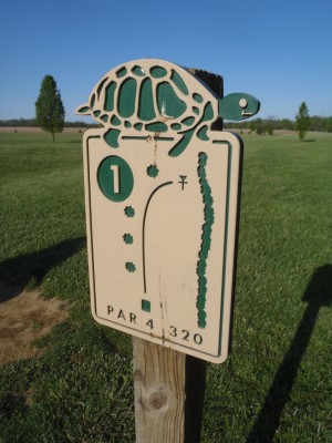 Turtlecreek, Main course, Hole 1 Hole sign