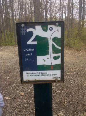 Veterans Memorial Park, Mike Broda Memorial DGC, Hole 2 Hole sign