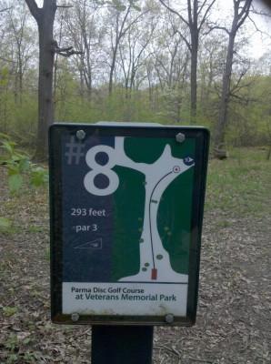 Veterans Memorial Park, Mike Broda Memorial DGC, Hole 8 Hole sign
