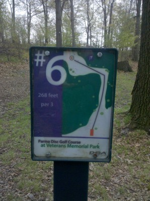 Veterans Memorial Park, Mike Broda Memorial DGC, Hole 6 Hole sign
