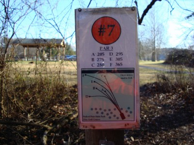 Forked Run State Park, Main course, Hole 7 Hole sign