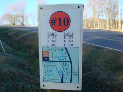 Forked Run State Park, Main course, Hole 10 Hole sign
