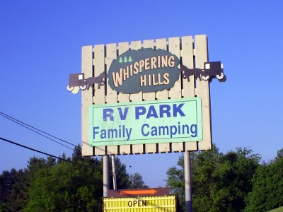 Whispering Hills RV Park, Main course, Hole 1 Hole sign