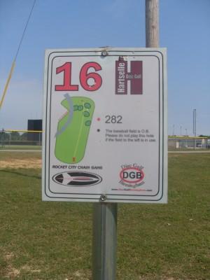 Sparkman Park, Main course, Hole 16 Hole sign