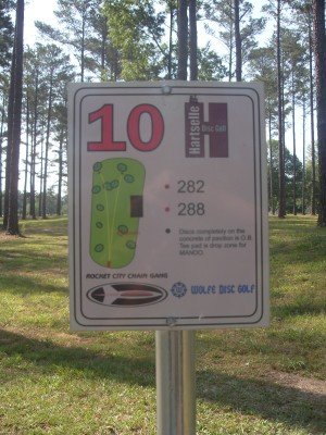 Sparkman Park, Main course, Hole 10 Hole sign