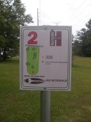 Sparkman Park, Main course, Hole 2 Hole sign