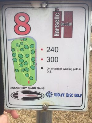 Sparkman Park, Main course, Hole 8 Hole sign