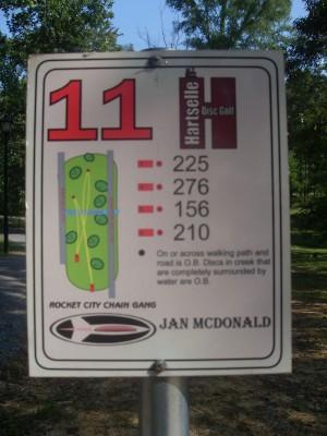 Sparkman Park, Main course, Hole 11 Hole sign