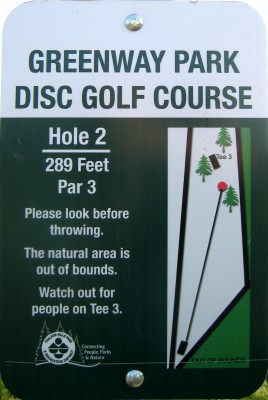 Greenway Park, Main course, Hole 2 Hole sign