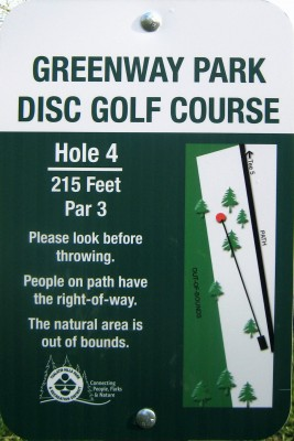 Greenway Park, Main course, Hole 4 Hole sign