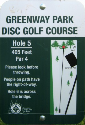 Greenway Park, Main course, Hole 5 Hole sign