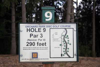 Orchard Park, Main course, Hole 9 Hole sign