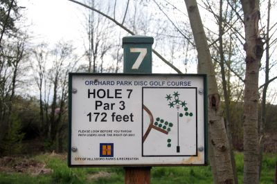 Orchard Park, Main course, Hole 7 Hole sign