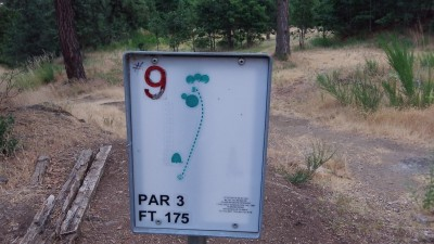 Hood River DGC, Main course, Hole 9 Hole sign