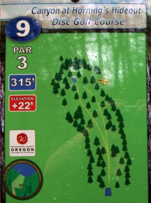 Horning's Hideout, Canyon Course, Hole 9 Hole sign