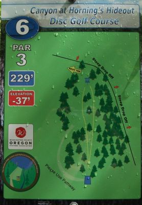 Horning's Hideout, Canyon Course, Hole 6 Hole sign